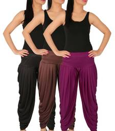 Black and Brown and Purple plain Lycra free size combo patialas pants