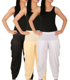 Black and Cream and White plain Lycra free size combo patialas pants