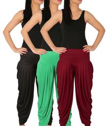 Black and Green and Maroon plain Lycra free size combo patialas pants