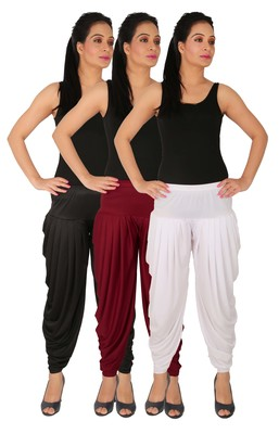 Black and Maroon and White plain Lycra free size combo patialas pants