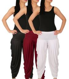 Buy Black and Maroon and White plain Lycra free size combo patialas pants patiala-combo online