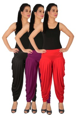 Black and Purple and Red plain Lycra free size combo patialas pants
