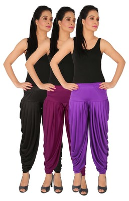 Black and Purple and Violet plain Lycra free size combo patialas pants