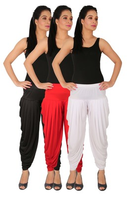 Black and Red and White plain Lycra free size combo patialas pants