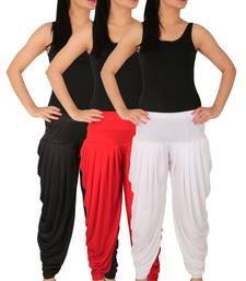 Buy Black and Red and White plain Lycra free size combo patialas pants patiala-combo online