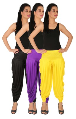 Black and Violet and Yellow plain Lycra free size combo patialas pants