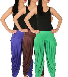 Blue and Brown and Green plain Lycra free size combo patialas pants