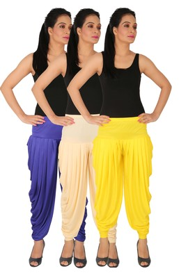 Blue and Cream and Yellow plain Lycra free size combo patialas pants