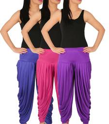 Blue and Magenta and Violet plain Lycra free size combo patialas pants