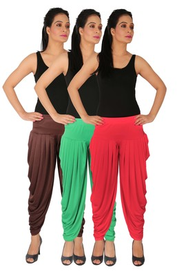 Brown and Green and Pink plain Lycra free size combo patialas pants