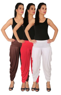 Brown and Pink and White plain Lycra free size combo patialas pants