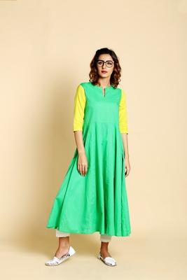 Green cotton long kurtis