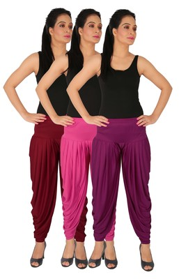 Maroon and Magenta and Purple plain Lycra free size combo patialas pants