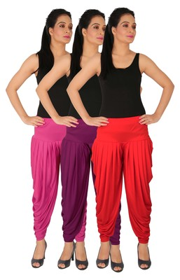 Magenta and Purple and Red plain Lycra free size combo patialas pants
