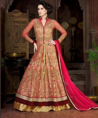 Pink embroidered crepe semi stitched Anarkali Suit