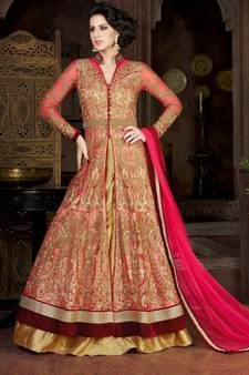 ed1f5d84d8e0 Pink embroidered crepe semi stitched Anarkali Suit