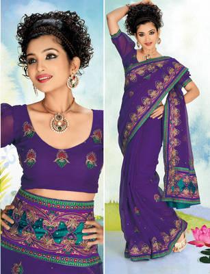 Goldmine911 Linen Net Embroidered Sari