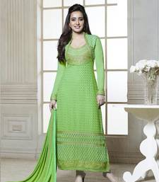 Buy Green embroidered georgette semi stitched salwar with dupatta straight-suit online