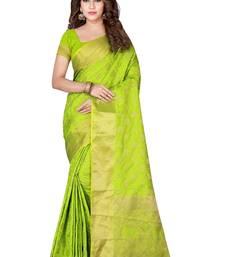 Light green woven pure kanchipuram silk saree with blouse