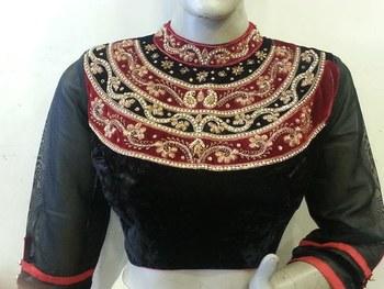 Enigmatic Black velvette handwork blouse