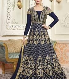 Buy Navy blue embroidered silk anarkali semi stitched salwar with dupatta anarkali-salwar-kameez online
