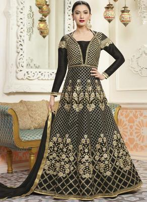 Black Embroidered Silk Anarkali Semi Stitched Salwar With Dupatta