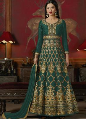 Dark green embroidered silk anarkali semi stitched salwar with dupatta