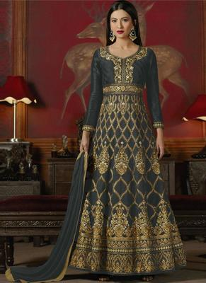 Black embroidered silk anarkali semi stitched salwar with dupatta