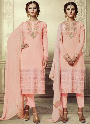 Light peach embroidered georgette semi stitched salwar with dupatta