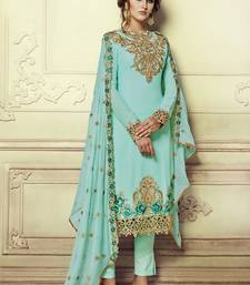Buy Sky blue embroidered georgette semi stitched salwar with dupatta straight-suit online