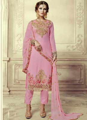 Baby pink embroidered georgette semi stitched salwar with dupatta