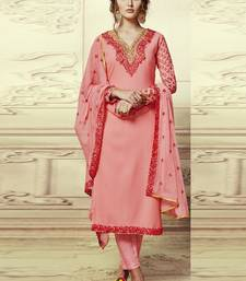 Buy Peach embroidered georgette semi stitched salwar with dupatta party-wear-kurtis online