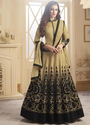 Beige embroidered taffeta anarkali semi stitched salwar with dupatta