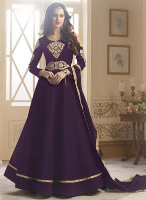Purple embroidered taffeta anarkali semi stitched salwar with dupatta