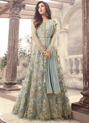Sky blue embroidered net anarkali semi stitched salwar with dupatta