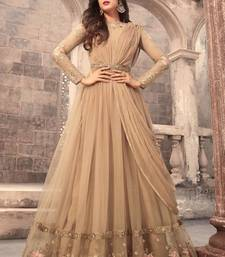 Buy Beige embroidered net anarkali semi stitched salwar with dupatta anarkali-salwar-kameez online