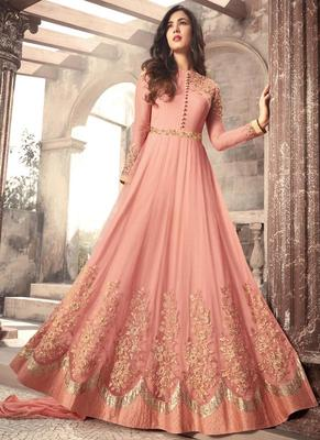 Peach embroidered net anarkali semi stitched salwar with dupatta