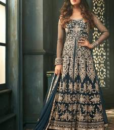 Buy Teal embroidered net anarkali semi stitched salwar with dupatta anarkali-salwar-kameez online