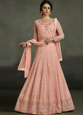 Peach Embroidered Georgette Anarkali Semi Stitched Salwar With Dupatta