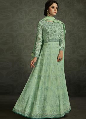 Light green embroidered georgette anarkali semi stitched salwar with dupatta