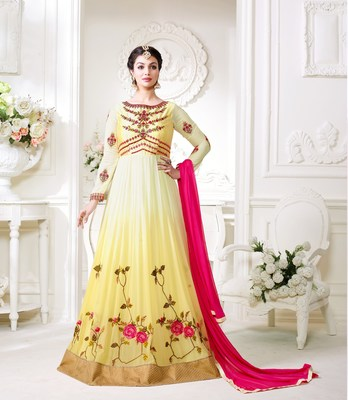 Yellow floral georgette semi stitched salwar with dupatta