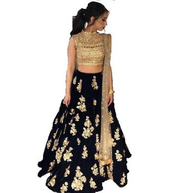 Black embrodered silk designer lehenga choli with blouse and dupatta