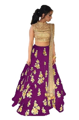 Magenta embrodered silk designer lehenga choli with blouse and dupatta
