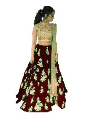 Maroon embrodered silk designer lehenga choli with blouse and dupatta