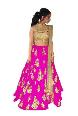 Pink embrodered silk designer lehenga choli with blouse and dupatta