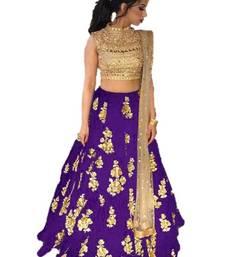 Buy Purple embrodered silk designer lehenga choli with blouse and dupatta lehenga-choli online