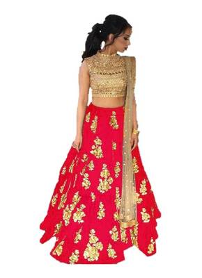 Red embrodered silk designer lehenga choli with blouse and dupatta