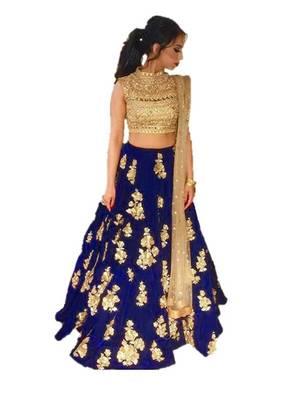 Royal blue embrodered silk designer lehenga choli with blouse and dupatta