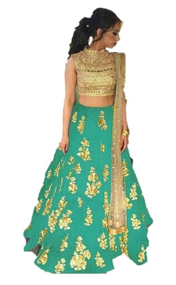 Turqoise embrodered silk designer lehenga choli with blouse and dupatta