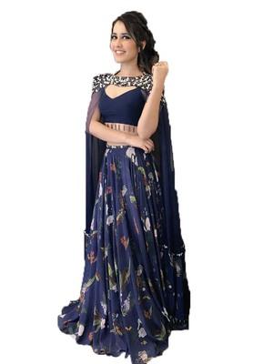 Blue printed silk semi stitched lehenga